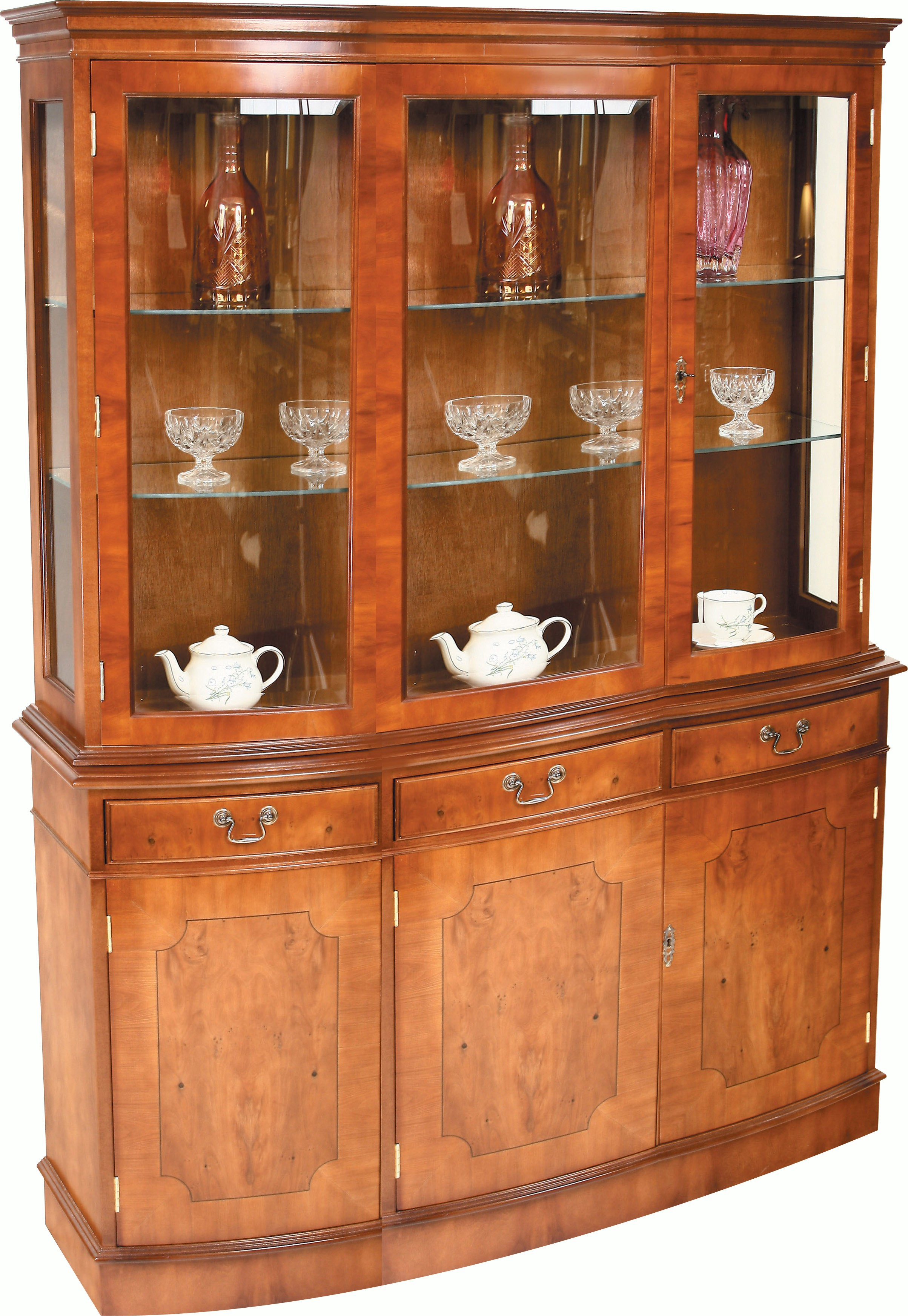 Triple Bow Fronted Display Cupboard Display Cabinets