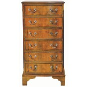 Narrow 6 Drawer Serpentine Chest