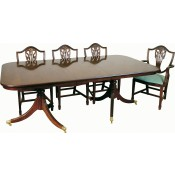 Solid Mahogany Regency 2 Leaf Wide Table