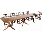 Solid Mahogany Regency 2 Leaf Triple Pedestal Table